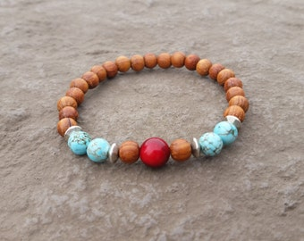 Red Bamboo Coral & Turquoise Howlite Bracelet