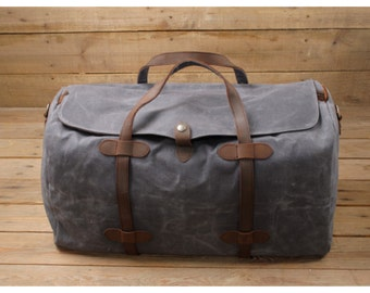Leather Duffle Bag Weekender Bag Mens Waxed Canvas Duffle