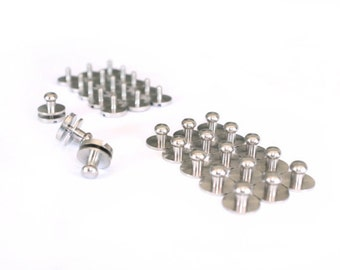 Bag closure supplies, SET of 5, closure charm, chrome purse finishing, round closure, metallic button, metal button