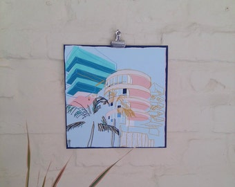 20x20 cm 'Ocean Place' Art Deco inspired Art Print / Wall Art