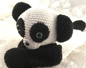 Crochet panda rag doll