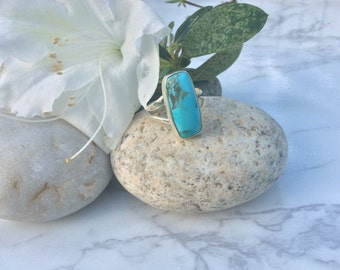 Blue Turquoise Sterling Silver Ring Genuine Turquoise Sz 5.5