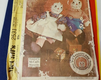 McCalls 2531 doll pattern , Vintage Raggedy Ann and Andy , FREE SHIPPING , Vintage doll pattern , Raggedy Ann and Andy pattern