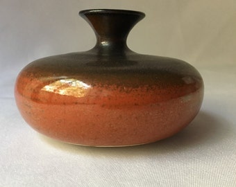 Small Vintage Ceramic Vessel - Signed Taylor - 1968 - Dark Gray and Burnt Orange