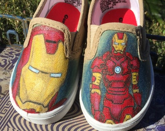 Toddler Iron Man Hand Painted Canvas Shoes