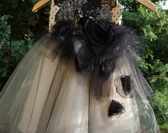TAJA Beige Black  Lace Tulle Flower Girl Dress Vintage Dress Wedding Bridesmaid Dress