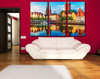 Large Wall Germany Cityscape Canvas Color Multipanel Canvas LubekCity  View Canvas Art Large  1-2-3-4-5 Panel Colorful Houses Print