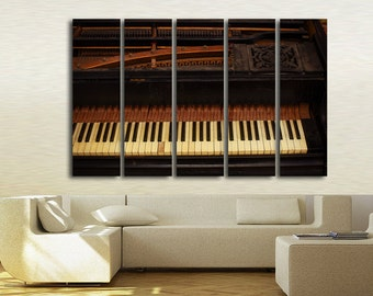 Large Wall Art Old Pianos Canvas Print / Large Pianos Wall Art / Living Room Panel Art / Canvas Print / Vintage