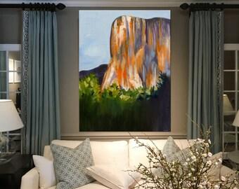 "30""X40"" original painting landscape contemporary acrylic X-large canvas art Yosemite El Capitan Orange Purple home decor by Shweta Patil"