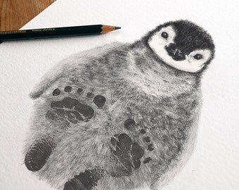 Penguin Chick: drawing personalised with your baby's footprints