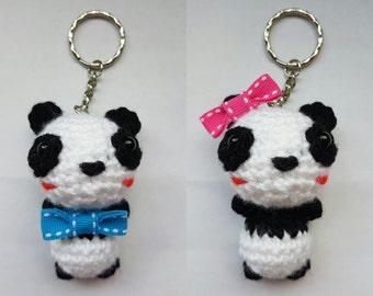 Chibi Panda amigurumi/crochet keyring *Special deal as pair* Boy or Girl Panda keychain | pair panda | gifts for him/her [Made to order]