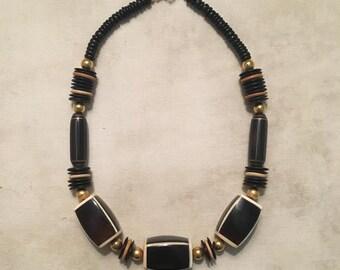 Handmade Beaded Necklace Cream / Black / Brown
