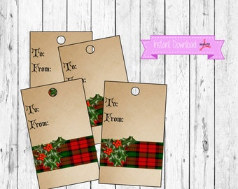 Christmas Gift Tag - Holly Gift Tag -  Gift Tag