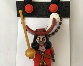 Disney Minifigure Necklace and Earrings - Captain Hook