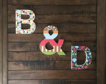Custom Wood Letters, Animal Theme Nursery Letters, Boys Bedroom Decor, Custom Letters, Hanging Letters, Kids Room Decor, Nursery Decor