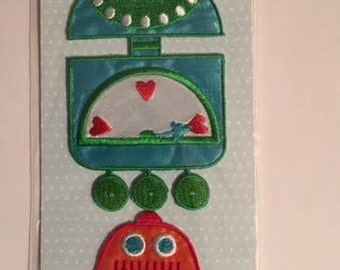 Babyville Boutique Applique - Blue Robot/Orange Robot