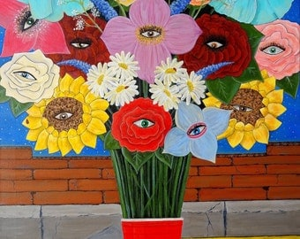 Painting of how I Eye Love Flowers