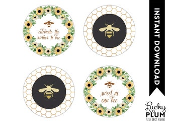 Bee Cupcake Toppers / Bee Round Labels / Sunflower Cupcake Toppers  / Flower Cupcake Toppers / Spring Cupcake Toppers / DIY Printable BE01