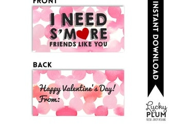 Smore Valentine Printable Tag / Valentine Printable Tag / I Need S'more Friends Like You / S'more Valentine Tag / S'more Treat Bag Topper