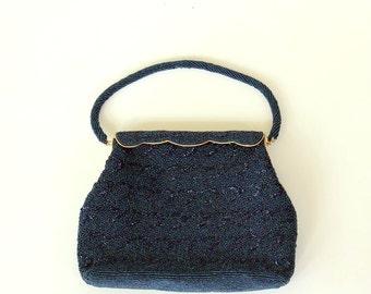 carnival glass beaded handbag . midnight blue beaded evening bag . heavily beaded purse by ADG, made in Hong Kong