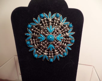 1970's Faux Turquoise Brooch with Native American Inspired Design