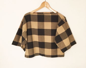 Vtg 90s CROPPED COTTON TOP// Boatneck Gingham Plaid Boxy Top// Ladies S
