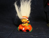 Russ White Hair Christmas Troll with Scarf in Wind Up Car