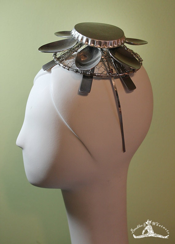 Unique Wire and Spoon Fascinator - Avant Garde Hat - Unique Hat - OOAK