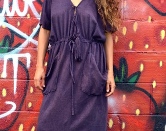 Easy Breezy Below the Knee with Tassels and Pockets. Organic cotton hemp. Made to order. Hemp dress. Organic hemp clothing. Dress for Peace.