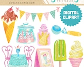 ICE CREAM PARLOR Digital Clipart Instant Download Illustration Retro Pastel Cone Sugar Popsicle Sundae Sprinkles Party Birthday Clip Art