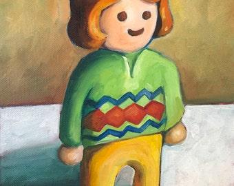 Playmobil Toy Still Life: Original Oil Painting