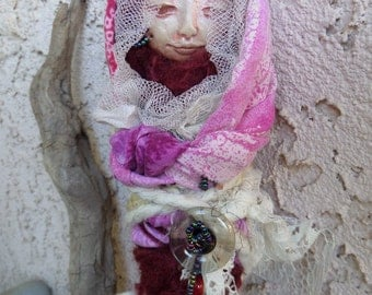 Handcrafted art doll, Kitchen Witch on whisk, Assemblage Art doll, Nature Spirit