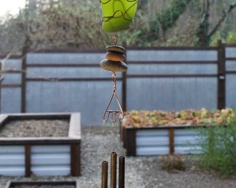 Wind Chime stained glass, beach glass, sea glass, copper, beach stones, Green, handcrafted