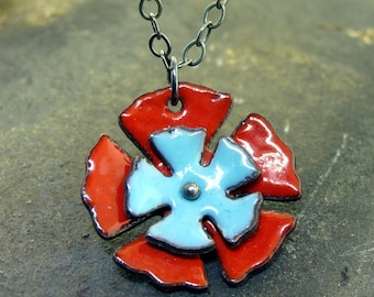 Poppy Flower Necklace, red and blue glass enamel on copper, flower poppy charm by Kathryn Riechert