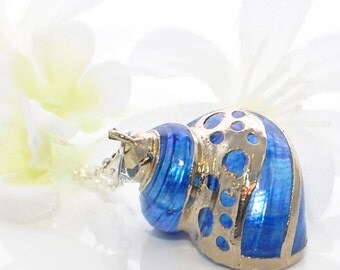 Blue Shell Pendant Captain Nemo's Treasure - Real Shell Necklace - Shell Jewelry - Gift for Wife