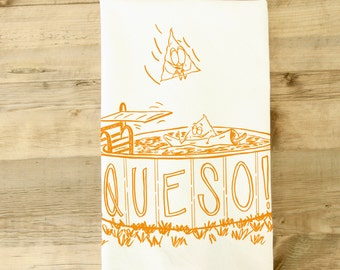 Queso Tea towel Dish Towel texas theme dishtowel funny kitchen towel Southwestern Kitchen Decor Housewarming gift cute Texas wedding gift
