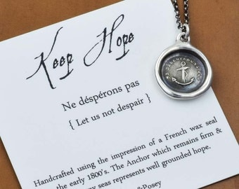 Keep Hope Wax Seal Necklace displaying an Anchor - Do not despair anchor jewelry - 169