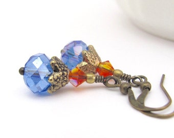 Blue Crystal Earrings, Petite Dangle Earrings, Swarovski Crystal Fire Orange, Victorian Abbey Style, Dainty Earrings, Bohemian Jewelry