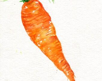 Carrot original watercolor painting  vegetable 5 x 7 original watercolor painting carrot, culinary watercolor, Modern Minimalism
