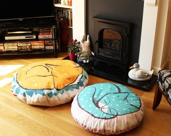 Big Fox cushion / cat cushion - throw pillow - huge giant throw pillow bean bag floor cushion fox plush homewares housewares retro cute cats