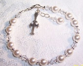 First Communion or Flower Girl Bracelet  with Swarovski Pearl and Crystals