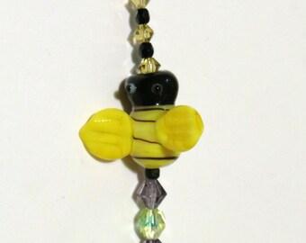 Suncatcher Large Faceted Teardrop Crystal Bumblebee Rainbow Maker