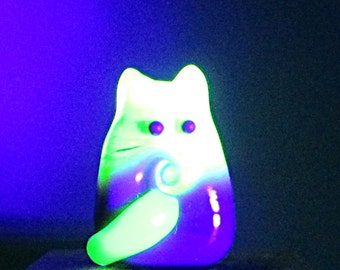 Cat Bead Handmade Lampwork Focal - Connie FatCat - She Glows!