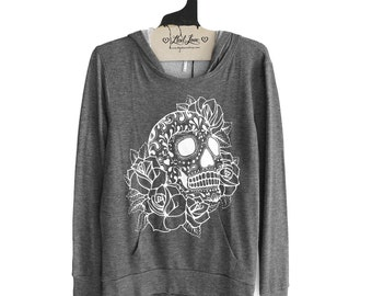 S or M - Charcoal SOFT Pullover Hooded Sweatshirt with Sugar Skull Screen print