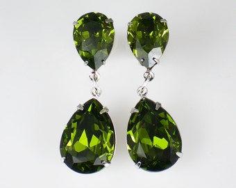 Olive Green Rhinestone Earrings Swarovski Olivine Wedding Jewelry Bridesmaid Earrings