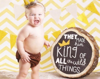 GOLD Original MAX Crown Where the Wild Things Are Inspired headband crow Smash Cake Photoprop