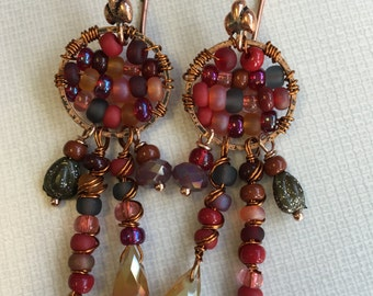 Eclectic Crimson hues Saree Earrings