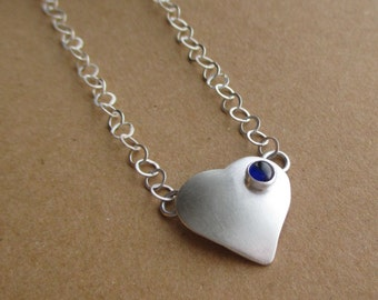Love Necklace - Heart - Sterling and Fine Silver - Shown with Blue Sapphire - Pick Your Stone of Choice