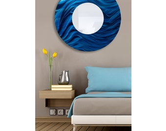"""Large Blue Modern Painted Metal Wall Mirror, Round Contemporary Hanging Wall Mirror Abstract Artwork, 35"""" x 35"""" - Mirror 117 XL by Jon Allen"""