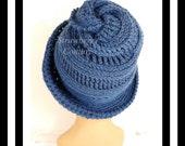 Dark Country Blue Crochet Hat Womens Hat Steampunk Hat Crochet Wide Brim Hat Women Dark Country Blue Hat, Winter Hat, VIRGINIA Wide Brim Hat